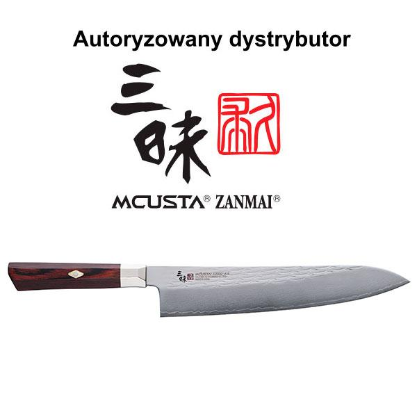 Mcusta Zanmai Gyuto 240mm Damast VG10 Red Pakka